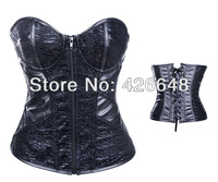 2953 black - 2013 New Arrival +Sexy Zipper Bustiers Corsets,Sexy Black Women Bone Lace Bustier Corset