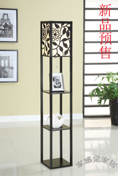 Free shipping Floor lamp rose carved square rack lamp quality furniture lamp wood lamp