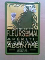20*30cm FLEURS DU MAL  ABSINTHE Art Metal Painting Gallery Decor Vintage Tin Sign Beauty Poster Animation Decor
