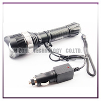 Free shipping High Power CREE Q5 Zoomable IN&OUT Flashlight Torch + Car Charger +AC Charger (100V-240V) R11