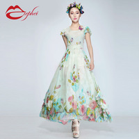 2014 summer chiffon one-piece dress short-sleeve expansion bottom chiffon full dress women's chiffon skirt female