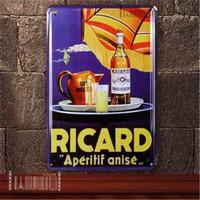 20*30cm Ocean Coast  Beach Tin Sign RICARD WINE Seaside Sail Teapot Juice Plate restaurant Wall Decor Home Metal Painting