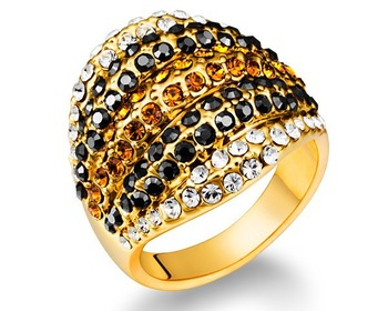 Retro Biker Style Multicolored Crystal Medium & Big Size Ring Gold Plated Exaggerated Party Banquet Women Vintage Brand Jewelry