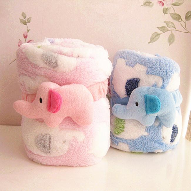 Free shipping! Three-dimensional volume Elephant plush blanket / coral fleece baby blanket / blanket / 95 * 80(China (Mainland))