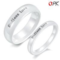 OPK FINE JEWELRY 2pcs Price Fashion Ceramic Couple Ring Pure White Endless Love Ring, Lady Size 5/6/7/8 Men size 6/7/8/9/10, 235
