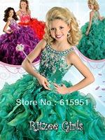 Latest design spaghetti strap ruffles beaded ball gown pageant dress many colors choice flower girls dress JW436
