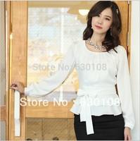 S-XXL 2014 New Fashion Autumn women blouse clothes Casual Career Slim tops plus size long-sleeved chiffon white shirt waist