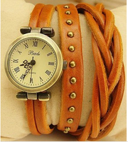 Tails spirally-wound type romaji punk rivet genuine cowhide fashion leather vintage bracelet watch bronze watch