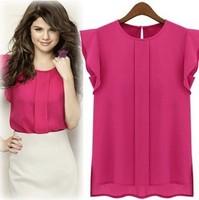 Drop shipping fashion summer short sleeve o-neck ruffled pleated sleeve chiffon shirt tops women
