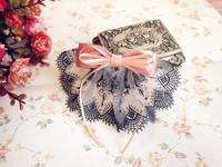 Princess lolita Handmade lace ribbon powder exquisite bow clip bags scollops  14-15cm length
