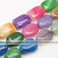 Natural Agate Beads Strand,  Dyed,  Mixed Color,  20x15x6mm,  Hole: 1mm
