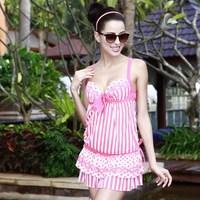 free shipping Vega 2013 poem polka dot stripe racerback slim skirt style swimwear