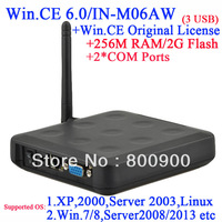 Green mini pc with RDP customized with 256M Ram 2G Flash 2COM port embeded WIN.CE 6.0 with original COA black color 3 USB