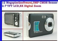 "free shipping 2014 hotest cheapest 12mp camera free shipping 5MP CMOS Sensor, 2.7""TFT LCD,8X Digital Zoom Anti-Shake DC Camera"