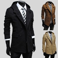 Hooded windbreaker men Special autumn  fashion men's large size trench 125054