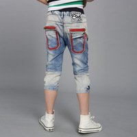 Children's clothing child summer male trousers child summer 2013 capris child shorts capris jeans