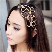 2014 hot women's Gold Elastic Hair Rope Weave Headbands Hair ornament fashion Hair Accessories