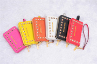 Deluxe soft leather flip pouch wallet case for iphone 4 4s 4g,luxury leather cases Rivets bag for iphone 5,1pc/lot free shipping