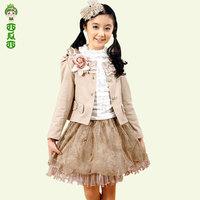 Watermelon children's clothing  autumn big boy child three piece set dress princess female child set