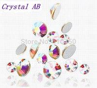Free shipping Wholesale 7200pcs/5Bag SS20 (4.6-4.8mm) Crystal AB Flat Back Nail Art Glue On Rhinestones / Non Hotfix Crystals