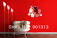 [Free Shipping] Acrylic restroom mirror 200x200mm flower wall sticker DIY wall stickers