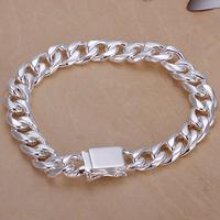 H037 Free Shipping Wholesale 925 silver bracelet, 925 silver fashion jewelry 10mm Square Lock Bracelet