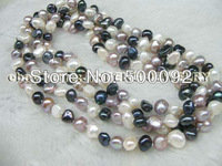 120cm  multicolor freshwater pearl necklace free shipping