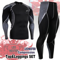 Free Shipping Men's Long Sleeve Running Compression Design Workout Tights Outdoor sport clothing Sportswear C3L_set_70