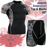 Leo pro straitest quick-drying t-shirt fitness clothing compression clothing basic shirt