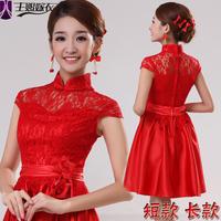new cheongsam dress fashion short design red wedding dress long design vintage lace formal dress free shipping