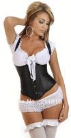 Factory Outlets, Cheap, Quality Assurance,2013 Hot,Sexy Comfortable Satin Sexy Vest Underbust Corset,S/M/L/XL/2XL,Q830-Black