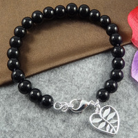 Black agate bracelet with palm  in sterling silver plated, free shipping (min-order $10) / CLB146