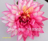 Western Style!Economic!Free Shipping(20pcs/Lot)Big Silk Artificial Dahlia Flower HEAD,No Stem!No Leaf!5Colors can Mix Per Lot