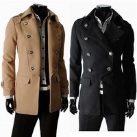 Novelty Military Style Jackets For Men Classic Button Collar Epaulet Coat Double Breasted Woolen Trench Overcoat Long Outerwear
