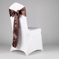 100 Satin Fabric Chocolate Chair Covers Sash/Bow For Wedding/Party