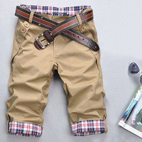 2013 men's summer clothing male casual capris summer trend plaid beach breeched male shorts