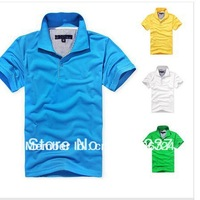 FREE SHIPPING Men's short sleeve polo shirt colorful shirt M L XL XXL Wholesale price retail causal T shirt handsome wear