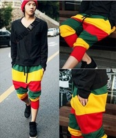2013 new arrival rainbow stripe drop crotch trousers personalized Camouflage harem pants hanging crotch hip hop fashion pant