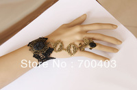 Women Retro Gothic Lolita Floral Lace Hand Chain Dance Slave Bracelet Ring set WS-06