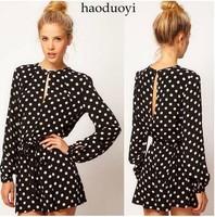 Free shipping Brand New Korean Style  Dot  back split long sleeve black Corset Jumpsuits & Rompers