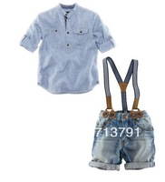 6sets/lot 2013 new design shirt + suspender jeans boys clothing suits summer wear  children cloth