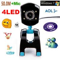 10pcs/lot NEW MINI  USB 2.0  50.0M  4LED DIGITAL  CAMERA ,WEB CAM ,WEBCAM HD,PC CAMERA WITH MIC+CD  FREE SHIPPING