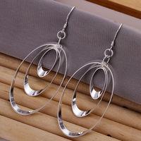 2014 Elegant Gift!Wholeslae 925 sterling silver fine women fashion earring,,Three Slippy Round Rings Silver Earrings E180