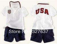 2013 new retail Children's clothing Set Baby Boy's polo Suit Short-sleeved shirt + Short Pants , USA letter sport suits,