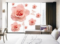 Free Shipping Wholesale--Delicate And Charming Rose Wall Sticker 8Sets/Lot The Decoration Of Home Wall Stickers Decor 90x60cm