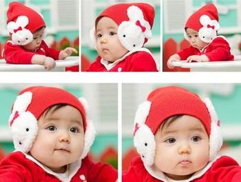 Free Shipping Fashion Baby Winter Bunny Hats Kids knit Cotton Animal Hats 5pcs/lot