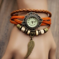 Hot Recommend! Promotion New Fashion Retro Hand-Woven Leather Pendant Wings Woman Watches
