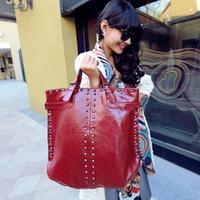 2013  big size bags female fashion rivet bag red handbag Wine women's handbag,bolsa tote bags