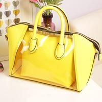 2013 spring transparent bag color block sugar jelly bag neon smiley bag crystal handbag female bags