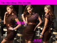 Sexy Black decolletage neck NO Sleeve Ribbon Appliques Paillette Mini Clubwear Transparent Back One-piece Evening Dance Dresses